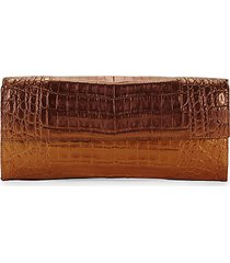 small flap crocodile leather clutch