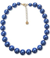 "charter club gold-tone blue imitation pearl collar necklace, 16"" + 2"" extender, created for macy's"