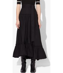 proenza schouler cotton poplin long tiered skirt black 0