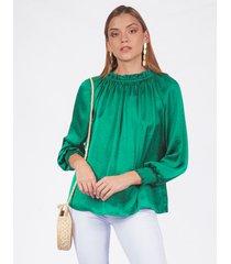 blusa adrissa verde esmeralda con nidos de abeja