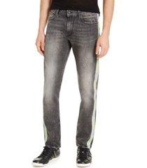 guess men's slim-fit reflective tape side stripe jeans
