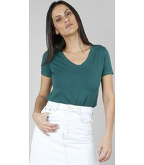 blusa feminina básica decote v manga curta verde