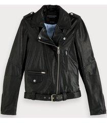 scotch & soda classic leather biker jacket