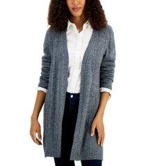 karen scott open-front side-slit cardigan, created for macy's