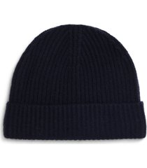 andrew stewart cashmere ribbed beanie in 410nvy at nordstrom