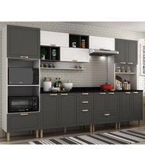 cozinha completa 10 peã§as americana multimã³veis 5654 branco/grafite - branco/incolor - dafiti