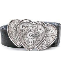 jessie western heart buckle belt - black