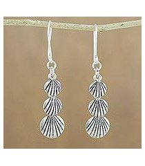silver dangle earrings, 'karen seashells' (thailand)