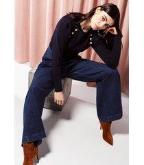 motivi jeans palazzo a vita alta donna blu
