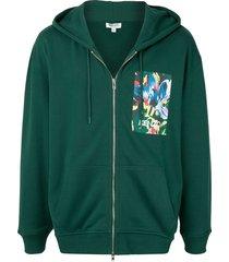 kenzo x vans floral-print zip-up hoodie - green
