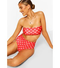 polka dot bandeau high waist bikini, red