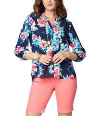 women's nydj pleat back blouse, size x-small - blue