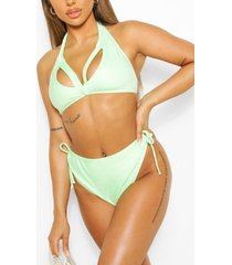 mix & match driehoekige bikini top met split, groen