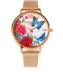 lvpai donna orologio di stile elegante retro con fiore e farfalla com regalo