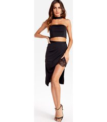 halter crop top & lace trim irregular hem skirt co-ord