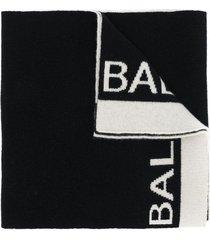balmain logo knit scarf - black