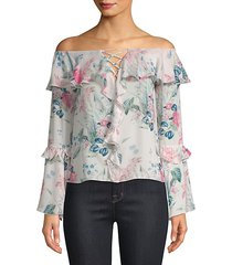 erin off-the-shoulder silk blouse
