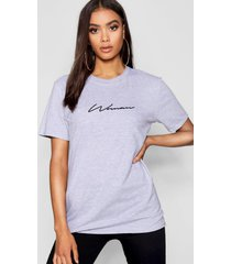 woman signature t-shirt, grey marl