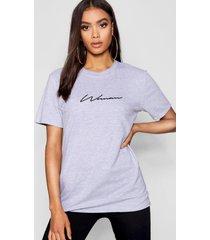 woman signature t-shirt, grijs gemêleerd