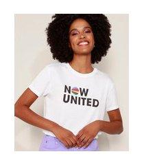 camiseta feminina now united manga curta decote redondo off white