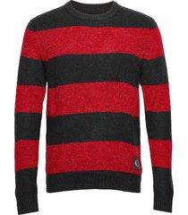 bold stripe cotton cn stickad tröja m. rund krage röd calvin klein jeans
