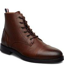 leather boot with zip snörade stövlar brun lindbergh