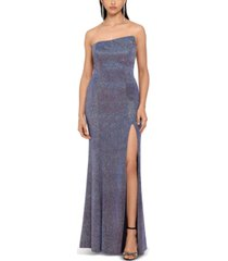 betsy & adam glitter strapless side-slit gown