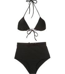 adriana degreas belted hot pants bikini set - black