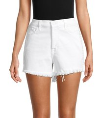 7 for all mankind women's distressed denim shorts - prince - size 23 (00)