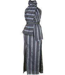 altuzarra riverhead striped panel dress - blue