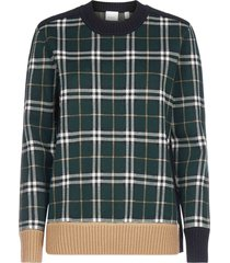 burberry check-motif merino wool sweater