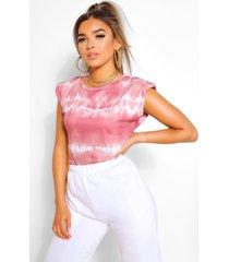 petite tie dye t-shirt met schouderpads, roze
