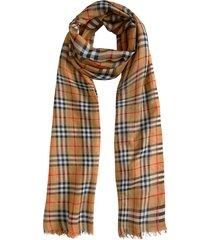 burberry vintage check lightweight wool silk scarf - brown