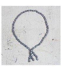 recycled glass beaded pendant necklace, 'eco slate' (ghana)