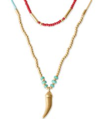 "lucky brand gold-tone horn pendant convertible beaded layer necklace, 14-1/2"" + 2"" extender"