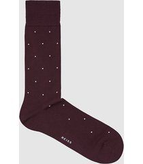reiss mario - polka dot socks in burgundy, mens