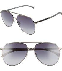 men's boss 61mm polarized aviator sunglasses - dark ruthenium
