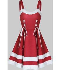 bicolor fluffy trim lace up christmas mini cami dress