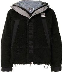 a bathing ape® embroidered logo sherpa jacket - black