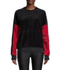 alala women's colorblock velour pullover - crimson black - size m