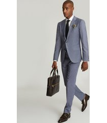 reiss ben - puppytooth check slim fit blazer in airforce blue, mens, size 46