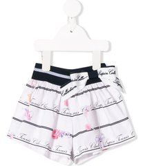 lapin house striped floral flared shorts - white