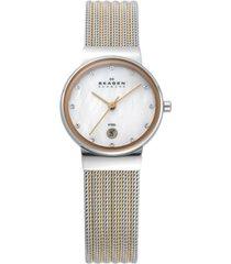skagen women's ancher two-tone stainless steel mesh bracelet watch 26mm 355ssrs