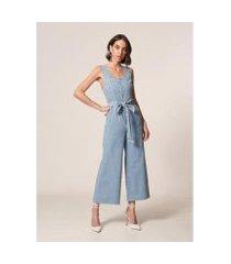 macacão mob jeans pantacourt botão delave - feminino