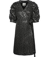 full sleeve mini wrap dress animal kort klänning silver maud
