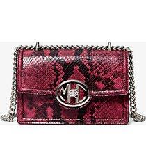 mk borsa a spalla mini monogramme in pelle stampa serpente con catena - malva (viola) - michael kors