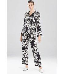 mantilla scroll mandarin pajamas, women's, black, 100% silk, size l, josie natori