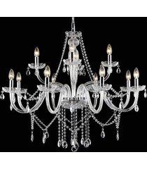 lustre candelabro de cristal maria tereza - 12 braã§os transparente - incolor - dafiti
