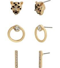 jessica simpson cheetah trio stud earrings, set of 3