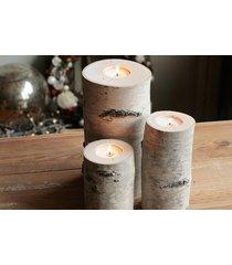 zestaw 3 drewnianych świeczników z brzozy